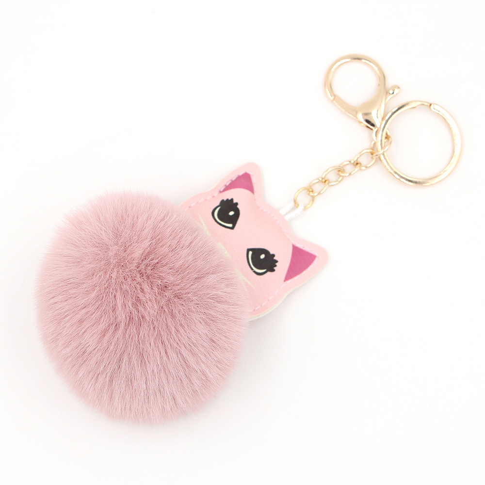 For Apple Airpods Accessories Airpod KeyChain Plush Toy Pendant Women  Fluffy Fur Pom Pom Keyring Bag Hang Plush Toy 2204c2799