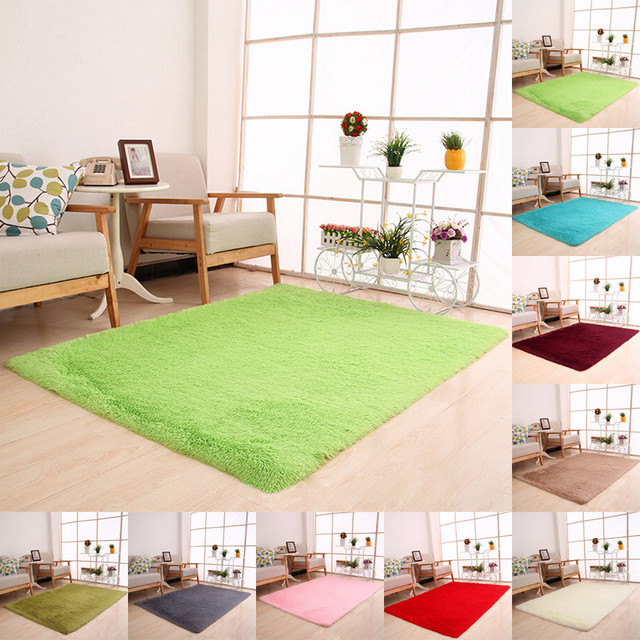 Fluffy Rugs Anti Skid Shaggy Area Rug Dining Room Home Bedroom Carpet Floor  Mat Alfombras