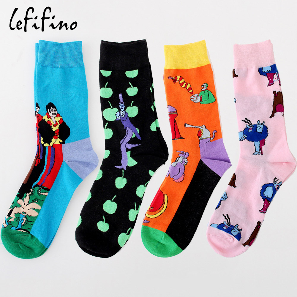 Punctual Lefifino Fashion Harajuku Street Style Mens Cotton Socks Novelty Moustache Male Casual Dress Socks For Men High Quality L24629 Bright In Colour Underwear & Sleepwears