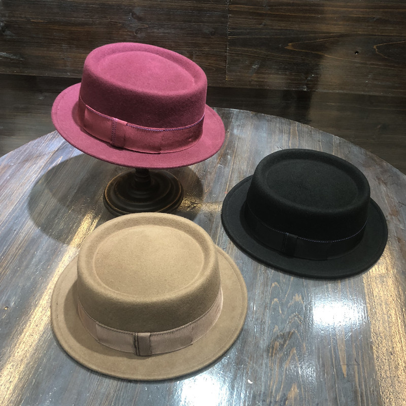 01808-FW313005 100% wool solid short brim flat lady winter Fedoras cap men women panama wool hat