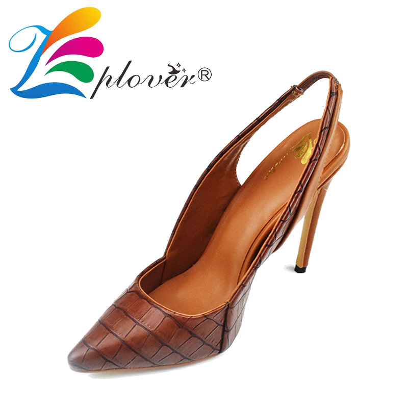 Zplover Brand Ladies Shoes Woman Fashion Sexy Pointed Toe Leather High Heels Pumps 2017 New Women Brown High Heels Wedding Shoes new arrival fucshia color pointed toe women wedding shoes 10cm high heels woman pumps ladies fashion shoes free shipping