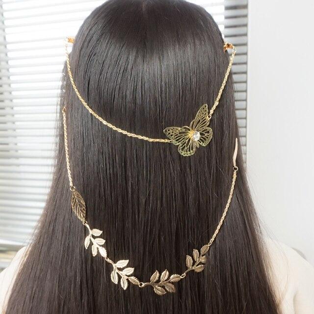 金属ベゼルヘアピンバリカンアクセサリーヘアバンド髪のチェーンジュエリーの葉の蝶のヘアクリップ花嫁の女性