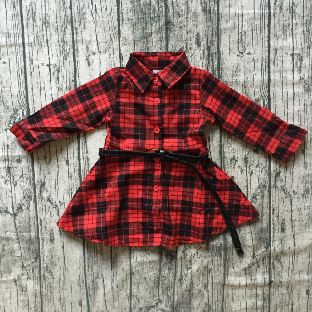 все цены на new Christmas fall/winter baby girls clothes children red black plaid belt dress cotton button ruffle boutique outfits kids wear