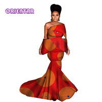 2019 Women Long Skirt Set African Clothes African Print Dresses Sexy Slash Neck Tops and Skirts Elegant Lady Party Dress WY3779