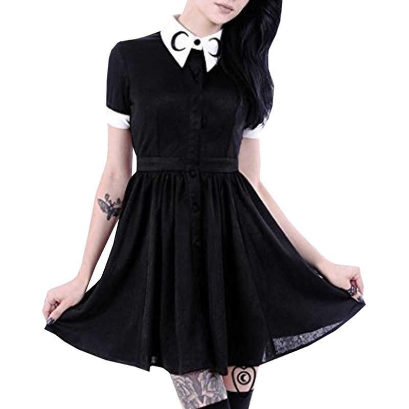 9ad3ee1531d 2018 Women Moon Print Gothic Vintage Short Sleeve Turn-Down Collar Black  Dress Punk Harajuku