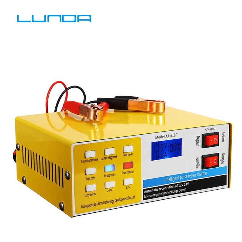 12 V/24 V 200AH cargador de batería de coche Automático 5 etapas caja de Carga inteligente de reparación de pulso para coche camión motocicleta versión RU