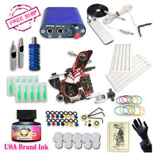 Free Ship Cheap Beginner Tattoo Kit With s USA Brand Ink With 1 Tattoo Machine Complete Tattoo Power Supply
