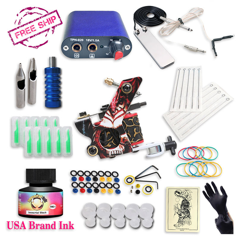ФОТО Free Ship Cheap Beginner Tattoo Kit With Hot Sales USA Brand Ink With 1 Tattoo Machine Complete Tattoo Power Supply