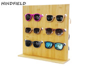 HINDFIELD Original Bamboo Wood Glasses Display Shelf Fashion Sunglasses Racks For 5 Glasses Removable Counter Shop Display Stand