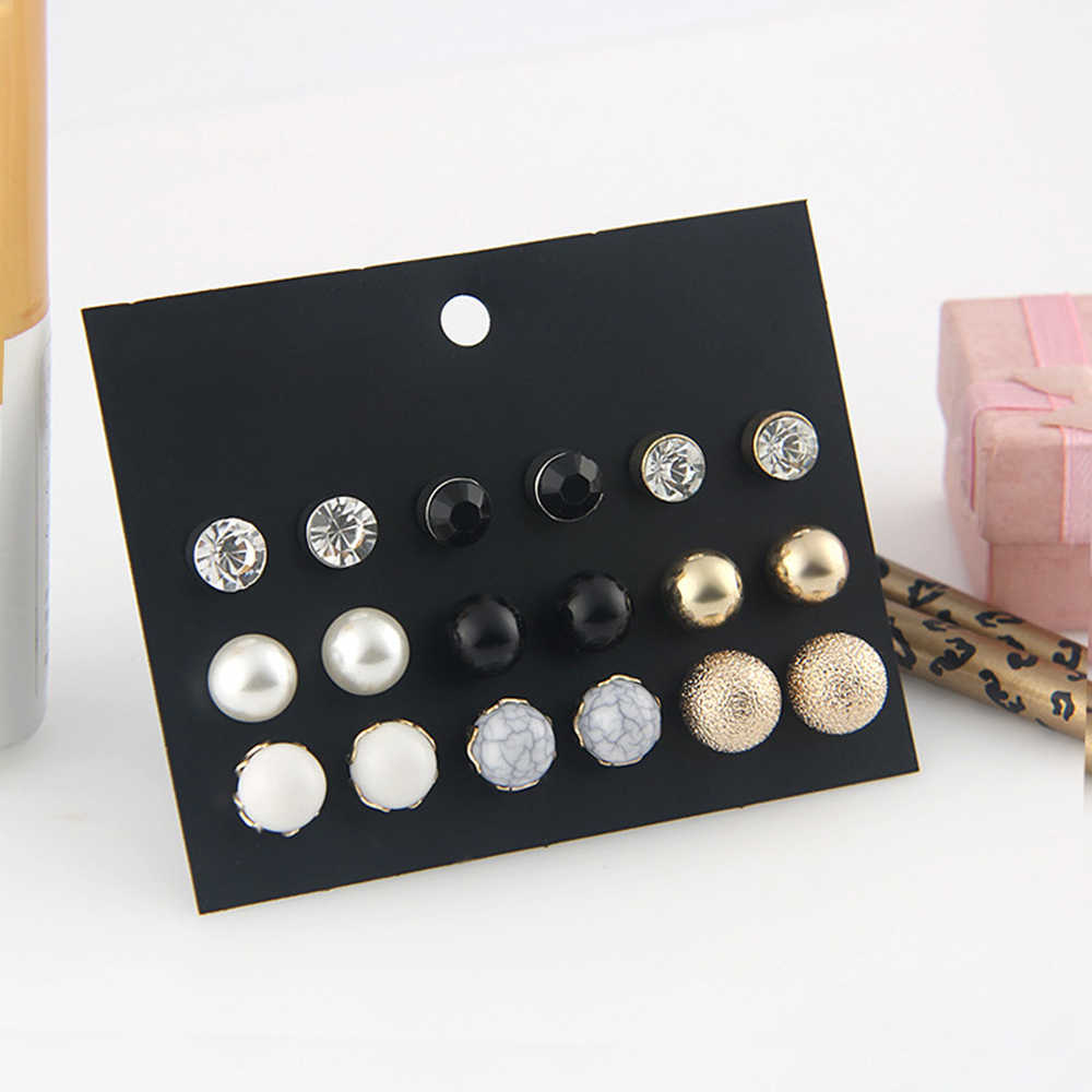 SUKI 9 Style Cute Round Pearl Ball Stud Earrings Set 2019 New Rhinestone Crystal Simple Design Brincos Earrings for Women Gift