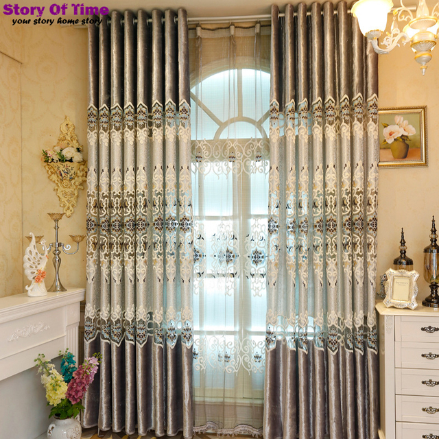 Luxury Fashion Style Window Curtain Lace Curtains Living Room Draps Shades Fabric