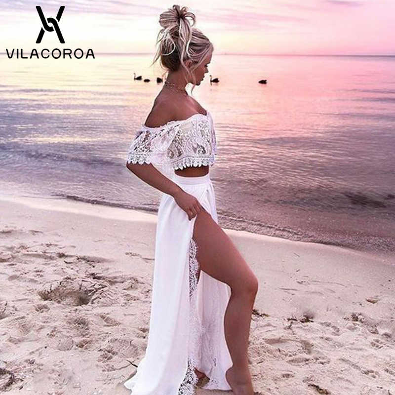 Summer Hot Women 2018 Sexy Lace One Shoulder Split Floor-Length vestido Party Dress White Dress Two-piece Set Maxi Dress vestido