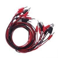 10Pcs Set 4mm Banana Plug To Banana Plug Test Probe Leads Cable Red Black 1M