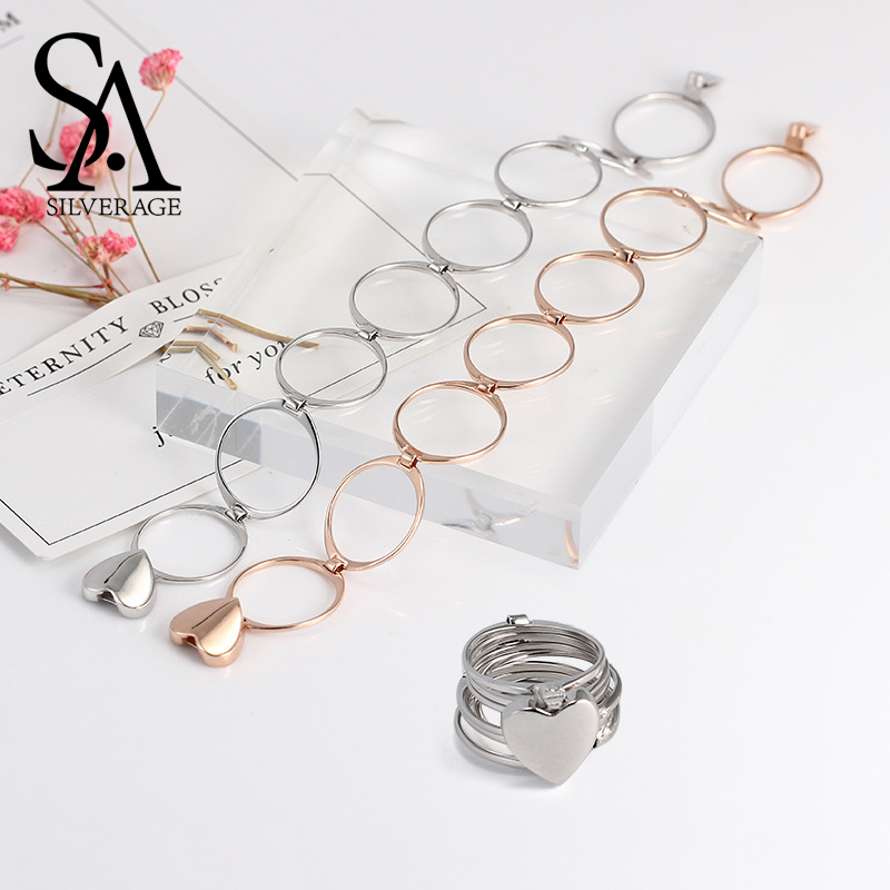SA SILVERAGE 925 Sterling Silver Heart Folding Rings & Bracelets for Woman Three Colors 925 Silver Bracelets Multifunction RingsSA SILVERAGE 925 Sterling Silver Heart Folding Rings & Bracelets for Woman Three Colors 925 Silver Bracelets Multifunction Rings