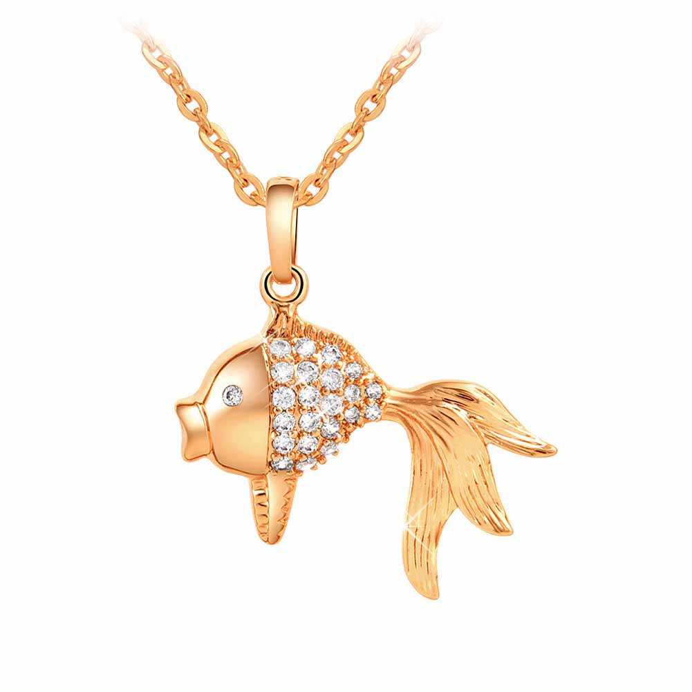 2017 women crystal gold fish style pendant necklaces for Gold fish pendant