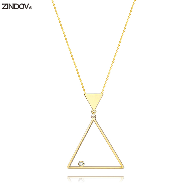 ZINDOV Pendant Necklace Geometric Gold Stainless Steel Triangle Long
