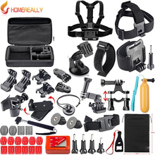 цена на Outdoor Sport Camera Accessories Kit for Gopro Hero 5 4 3 SJCAM SJ4000 SJ5000 Bundles with Chest Harness Mount/Suction Cup Mount