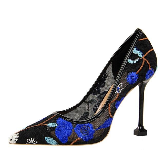 {D&Henlu} Flower Embroider Women Heel Shoes 2018 Summer Shoes Womens Sexy High Heels Party Pumps Women Hollow Mesh Dress Pumps