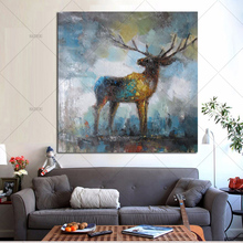 100% Handpainted Modern animal Oil Painting on Canvas Animal antelope pictures wall Decor for Living room home Christmas decor