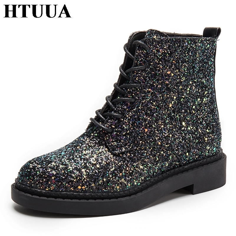 HTUUA Pink Sequins Glitter Ankle Boots for Women Casual Shoes Harajuku Punk  Martin Boots Autumn Casual Platform Shoes SX1664-in Ankle Boots from Shoes  on ... bf834a7527f8
