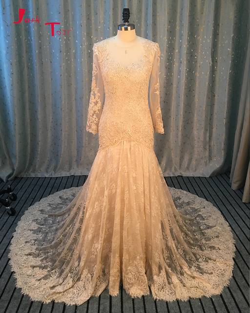 Jark Tozr Custom Made Button Up Long Full Sleeve China Bridal Gowns 2018 Gelinlik Appliques Lace Champagne Mermaid Wedding Dress