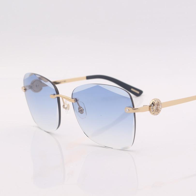 Mit co2 Gradient Mujer De Gafas Sonnenbrille Lens Klar Blau Platz Sol Co1 Frauen Randlose Kristall qgfHg1