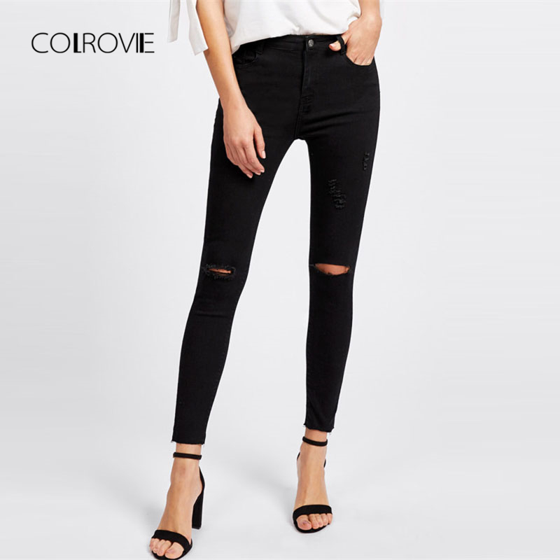 COLROVIE Knee Rips Hem Skinny Ankle Jeans 2018 New Spring Mid Waist Casual Female Bottoms Black Plain Trousers