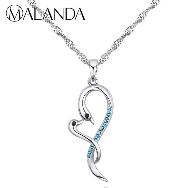 MALANDA Brand Fashion Classic Swan Necklaces For Women Crystal From  Swarovski Statement Necklaces Pendants Jewelry Girl Gift