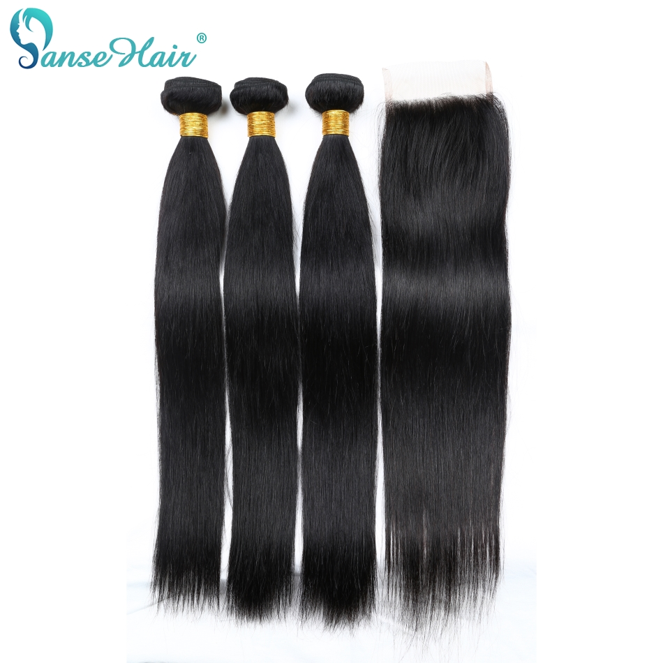 Panse Hair Brazilian Hair 3 Bundles With Lace Closure 4X4 Straight Human Hair Weaving Customized 8