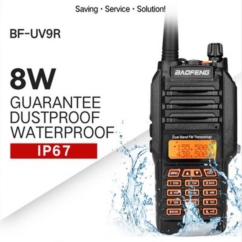 Baofeng UV-9R walkie talkie waterproof IP67 powerful 8W Dual Band 136-174/400-520MHz VHF UHF ham radio for hunting NA773 antenna