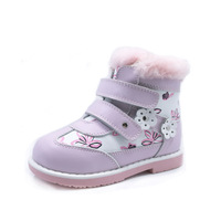 Russian Girls Genuine Leather Fur Linned Cool Winter Boots Kids Solid Flat Feet Shoes For Below