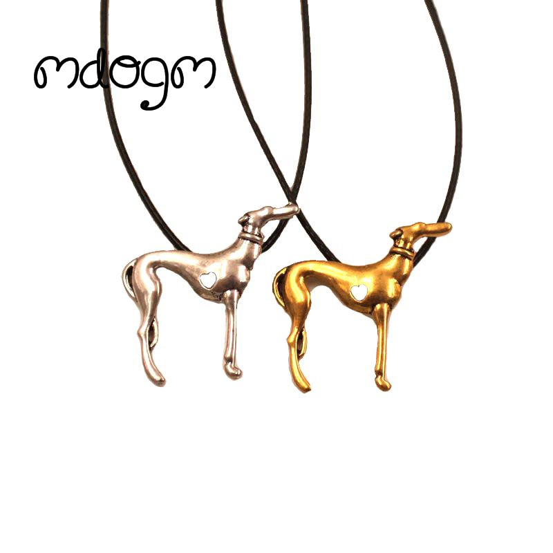 Mdogm 2017 Greyhound Necklace Dog Animal Pendant Antique Gold Silver Plated Jewelry For Women Male Female Girls Ladies N137