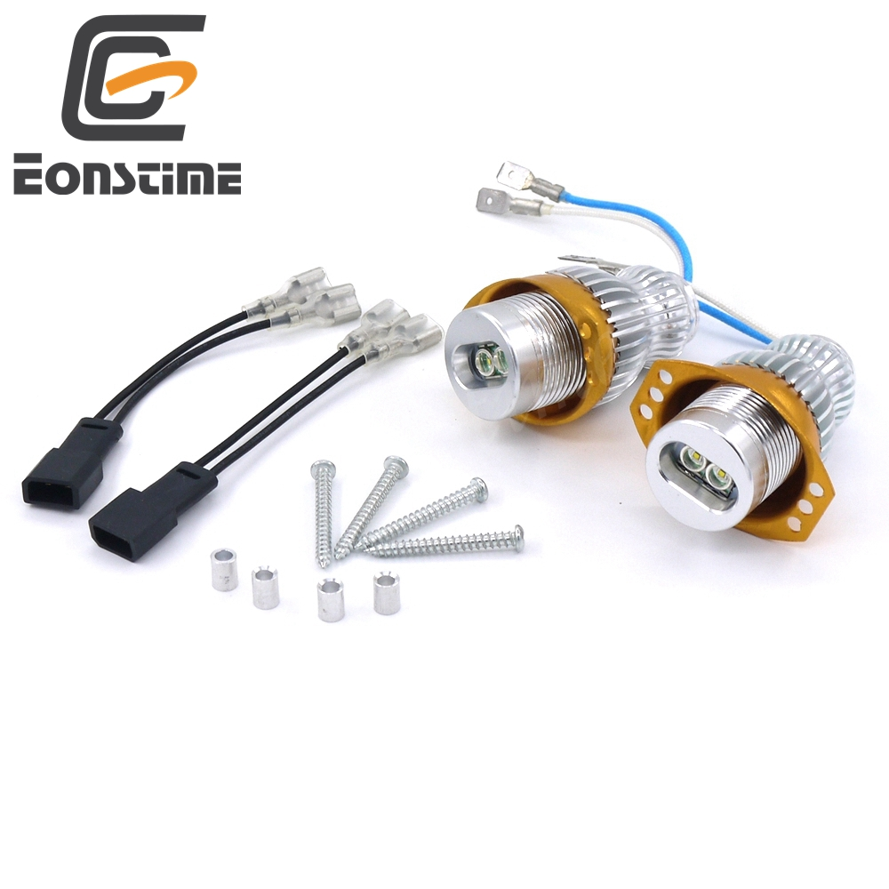 Eonstime 2pcs 10W Angel Eyes <font><b>LED</b></font> Marker Xenon <font><b>Headlights</b></font> for <font><b>BMW</b></font> 3 Series <font><b>E90</b></font> Sedan / E91 Estate 2005-2008 325i 325xi 328i 328xi image