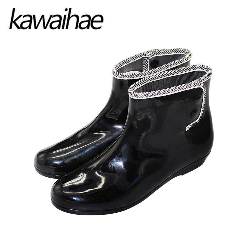 Women Boots Rubber Boots Ankle Shoes Waterproof Round Toe Comfortable Female Brand Kawai ...