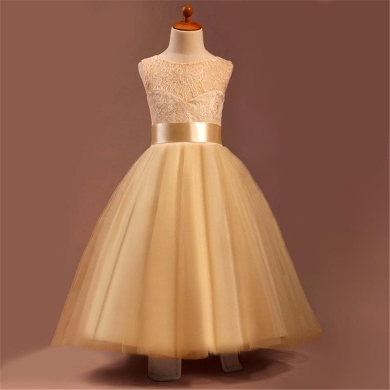 Champagne Color Flower Girl Dresses 2016 Vestido De Primera Comunion Blanco Floor Length Pageant Dresses
