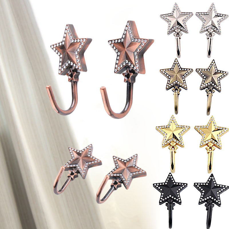 2pcs Zinc Alloy Five Star Curtain Tieback Tie Back Holders