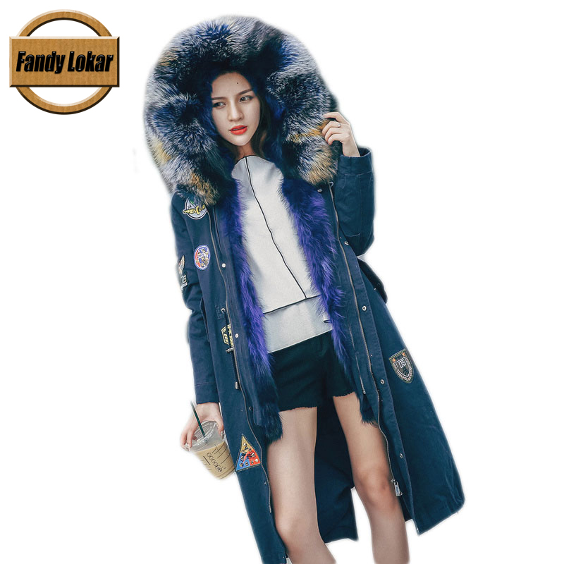 Solid Knee Length Raccoon Fur Collar Coat Women Winter Real Fox Fur Liner Zipper Jacket With Hat Women Camouflage Fur Parka 2017 winter new clothes to overcome the coat of women in the long reed rabbit hair fur fur coat fox raccoon fur collar