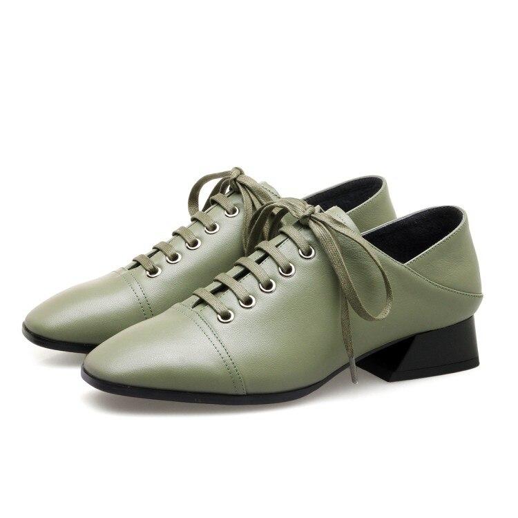 Pie Moda Redondo Ocio Las Gran {zorssar} Alto Negro verde Tacón 2018 Damas Zapatos Bajo Primavera Tamaño Dedo Nueva Del Genuino De Cuero Mujeres ggZE7q