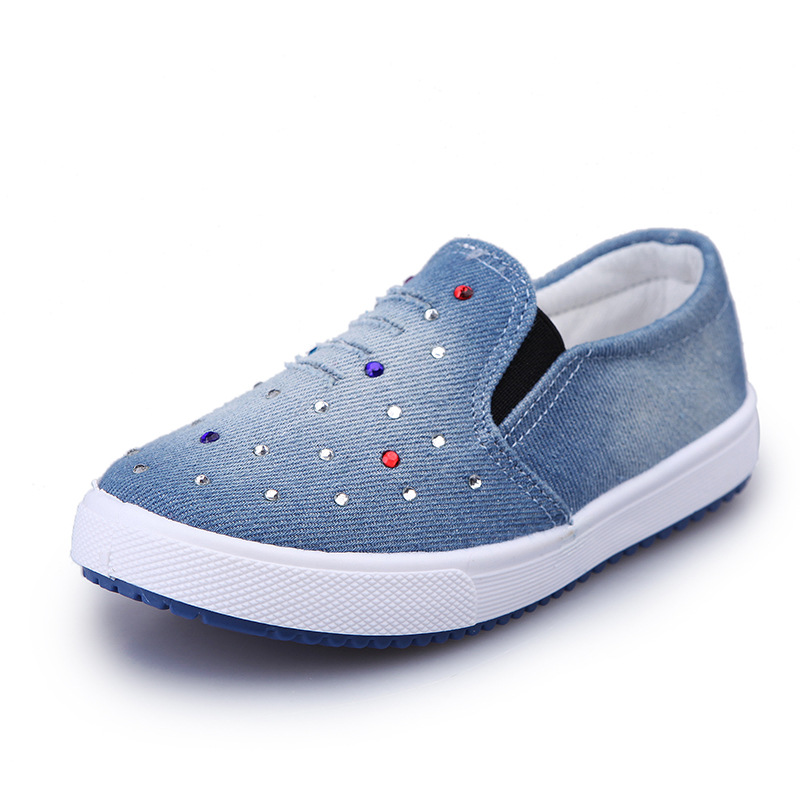 Kids Shoes for Boys Denim Sneakers Baby Canvas Flat Shoes Girls Casual Children Sports Shoes Fashion Light Soft Breathable Blue