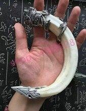 Véritable dents de sanglier naturel, pendentif tête de dragon en argent tibétain