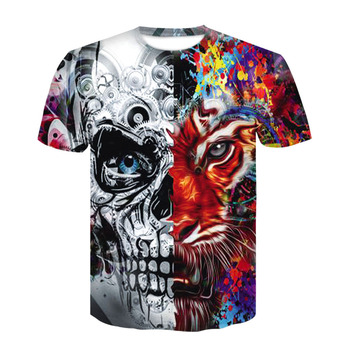 2019 Devin Du 3D color printed skull T-shirt fitness casual T-shirt with round neck and short sleeves for men and women