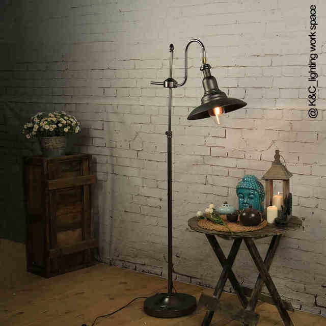 Industrial vintage loft style wrought iron adjustable floor lamp industrial vintage loft style wrought iron adjustable floor lamp coffee shop foyer bedroon decoration floor light aloadofball Image collections