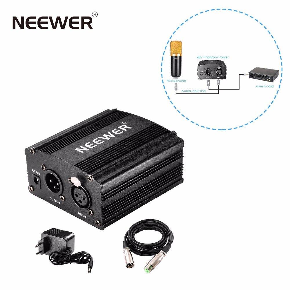 Nuevo 1-canal de alimentación fantasma de 48 V adaptador negro una XLR de Cable de Audio para micrófono de condensador de grabación de música equipo