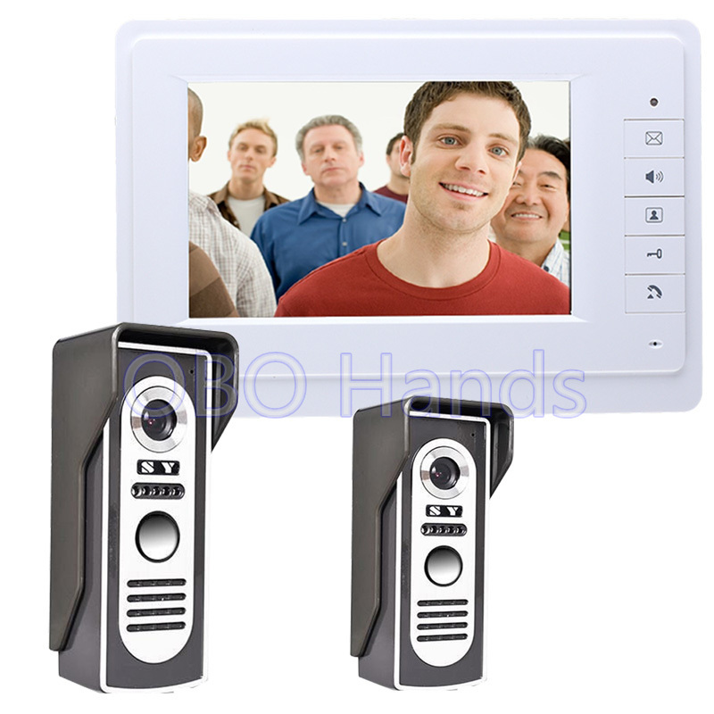 Free Shipping 7'' Wired Video Door Phone Access Control Doorbell Intercom System Kit 2 camera+1 monitor IR Night Vision 819M21 free shipping wired 7 color video door phone intercom system 2 white monitor 1 night vision doorbell camera in stock wholesale