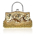 Hot Sale Gold Ladies' Beaded Sequined Banquet Wedding Evening Bag Clutch handbag Bride Party Makeup Bag Purse 1323-G