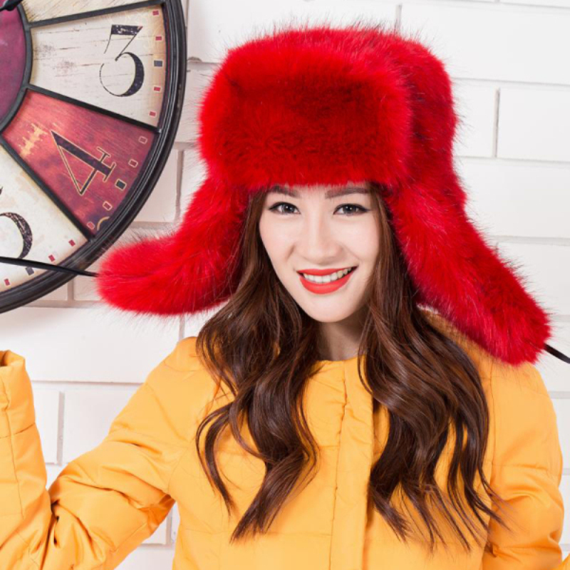 MZ250 Thick Warm Winter Bomber Hat For Women High Quality Russian Ushanka Hat Ladies Faux Fur Hat Female Earflap Trapper Hat