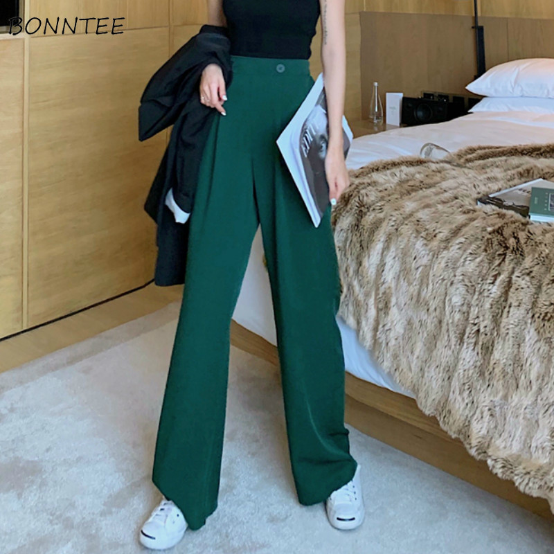 Pants   Women Korean Style Fashion New All-match Chic High Trouser Womens Solid   Wide     Leg     Pant   Elegant All-match Capris Button Girl