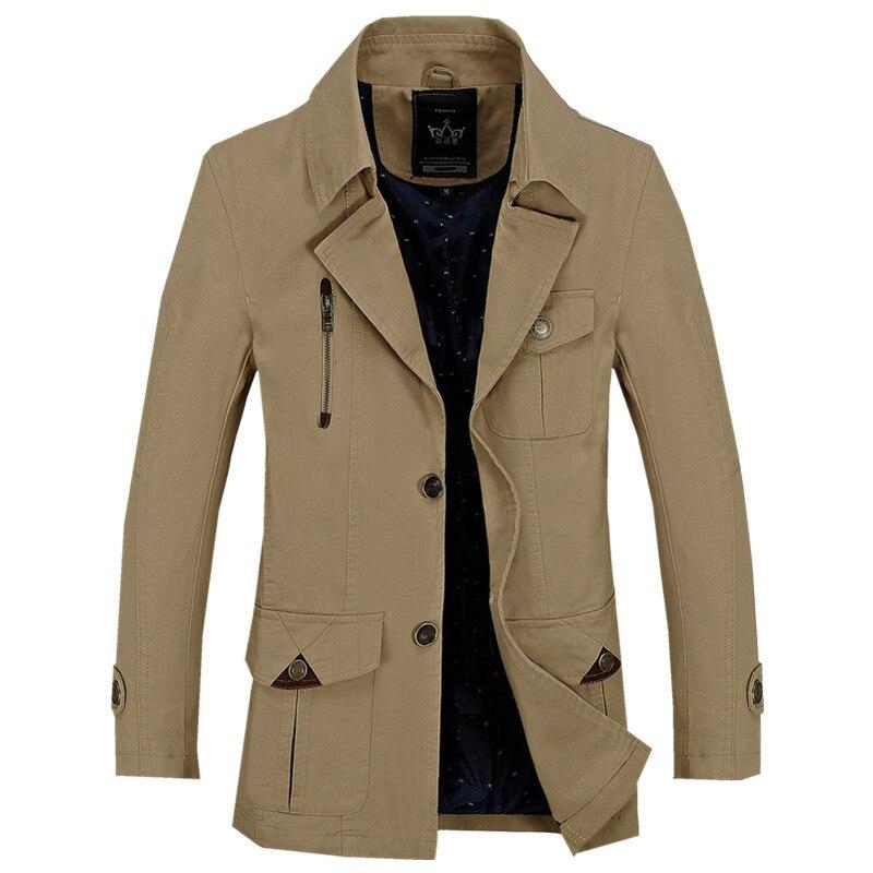 Vestes hommes pardessus Smart décontracté manteau couleur unie veste Outwear coupe-vent 2019 automne mode hommes pardessus kaki noir S164