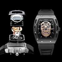 BAOGELA Male Waterproof Sports Watch Skulls Hollow Out Watch Luminous Male Watch Quartz Watch Black High Quality Silicon Strap