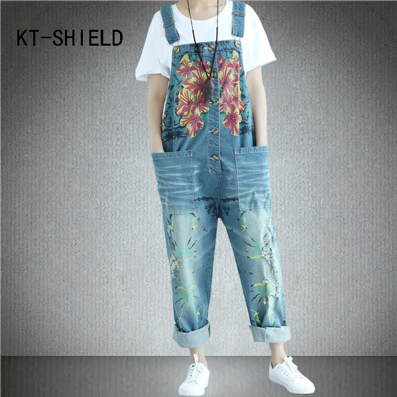 Casual Loose Plus Size Denim Overalls Women printing Rompers Jumpsuit Jean Boyfriend Wide Leg jeans Harem Pants Trousers new fashion reminisced men vintage trousers casual jeans festa junina loose plus size overalls zipper denim jumpsuit men pants